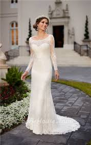 fitted boat neck backless ivory lace long sleeve wedding dress