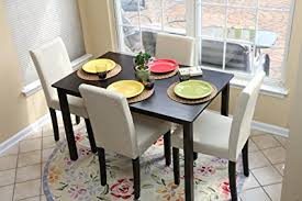4 person table set amazon com 5 pc ivory leather 4 person table and chairs ivory
