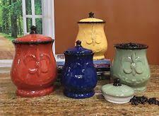 beige fleur de lis ceramic kitchen canisters set 3 by fleur de lis canisters ebay