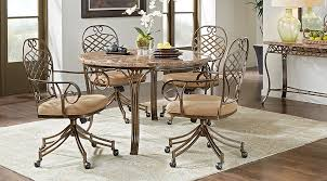 Stone Dining Room Table - alegra metal 5 pc round dining set with stone top dining room