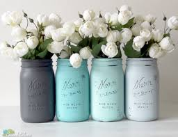 Mason Jar Home Decor Ideas Dorm Decor Blue Gray Home Decor Painted Mason Jars Pencil Holder