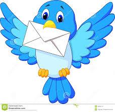 cute bird cartoon delivering letter stock vector image 33992741
