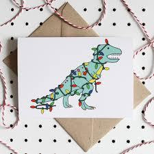 charlotte filshie tree rex dinosaurs christmas greeting card