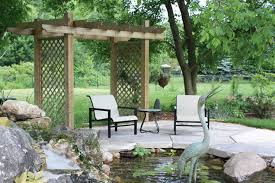 Arbors And Pergolas by Pond And Sitting Area With Arbor Lads Landview Architectural