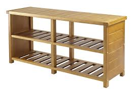 two layer clear coating wooden rack for shoe organizer with