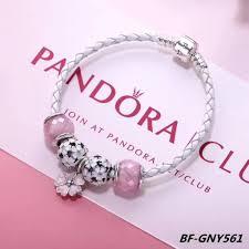 pandora leather bracelet pink images Pandora white pink flower leather bracelet jpg
