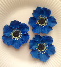 edible blue flowers gum paste anemones royal blue flowers set of 3 edible cake and