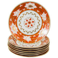 Modern Kitchen Plate Set Set Of A Dozen Chamberlain U0027s Worcester Dishes With Orange Blossom