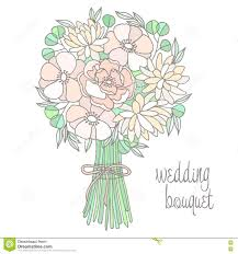 wedding flowers drawing wedding bouquet with flower stock vector image 73059933
