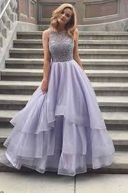 lavender tulle round neck lace a line long prom dresses