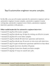 Diploma Mechanical Engineering Resume Samples by Top8automotiveengineerresumesamples 150407031548 Conversion Gate01 Thumbnail 4 Jpg Cb U003d1428394591