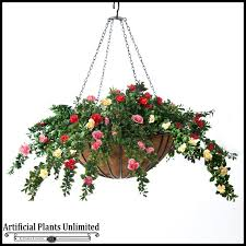 silk plants hanging basket with artificial plants and flowers hooks and lattice