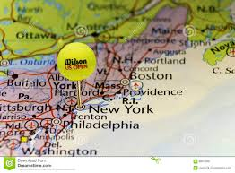 Us New York Map by 2016 Us Open Official Tennis Ball As Pin On Map Of Usa Pinned On