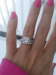 neil engagement ring pics of neil 1 5 ct halo engagement ring on 4 5 size finger