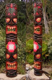 tribal tiki mask turtle hono flower tiki totem wood mask patio