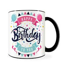 happy birthday wishes unique design mug