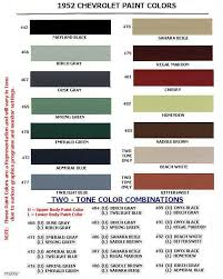auto paint codes coe colors for 1952 auto paint colors
