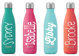 s u0027well water bottle with personalized custom name satin