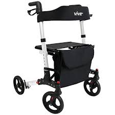 senior walkers with seat rollator walker by vive 4 wheel rolling walker with seat