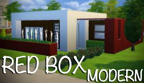 Modern Box House The Sims 4 Red Box Modern Speed Build Youtube