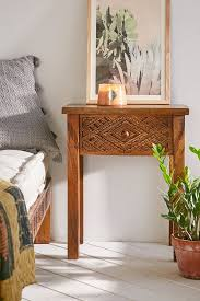 carved wood nightstand beautifully boho nightstand crafted from