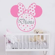 Minnie Mouse Easter Sticker Name Wall Decal Minnie Mouse Decal Nursery Decor Sticker Custom
