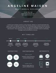 dark infographic and timeline photo resume templates by canva