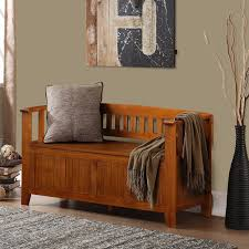 Living Room Storage Bench Entryway Accent Furniture Brown Beadboard Panel Entryway Storage
