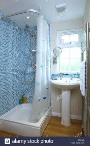vintage ruffle shower curtain natural x mosaic shower curtain blue