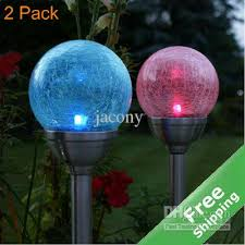 2017 crackle glass solar stake light stainless steel