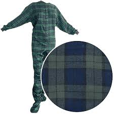 big pjs green plaid flannel footed pajamas for and