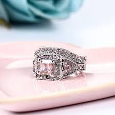 womens wedding ring sets 2 pieces pink women s engagement wedding rings set us size 5 11