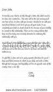 neatly written sample dear john letter stock vector 54080257