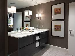 Smart Bathroom Ideas Gorgeous With Cute Hanging Lamp Close Big Mirror And Two Pretty