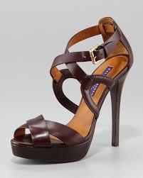 ralph lauren jesita crisscross platform sandal in brown lyst