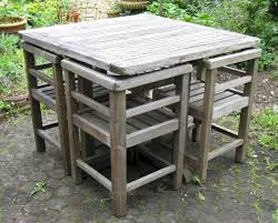 Teak Garden Table Antiques Atlas Weathered Teak Garden Set Of Table And Four Chairs