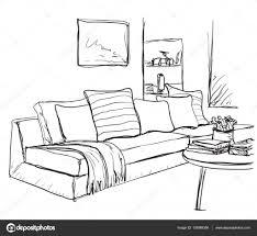 Sofa And Furniture Room Interior Sketch Hand Drawn Sofa And Furniture U2014 Stock