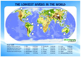 worlds rivers map the world s rivers by idj teaching resources tes