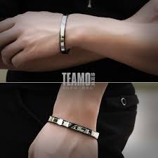 His And Hers Engraved Bracelets Teamo His And Hers Bracelets True Love Engraved Black Bangle For
