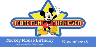 mickey mouse birthday mickey mouse birthday november 18 national day calendar