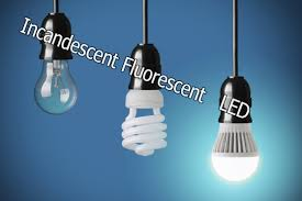 compare led lights vs incandescent light bulbs vs fluorescent lights