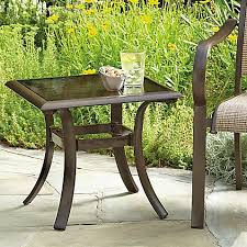 Bed Bath And Beyond Outdoor Furniture by 20 Inch Square Aluminum And Glass Patio Accent Table In Brown