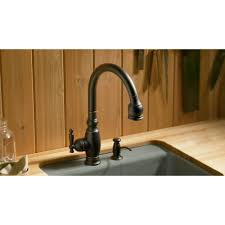oil rubbed bronze kitchen faucet kohler k 690 2bz vinnata oil rubbed bronze pullout spray kitchen