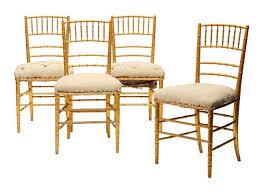 chaise dorée quatre chaises dorées modèle bambou style napoléon iii h 82 cm l 29