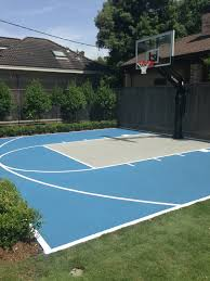 this pro dunk platinum basketball goal sits over a painted blue