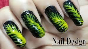 easy nail art designs tutorial green leaf nail art youtube