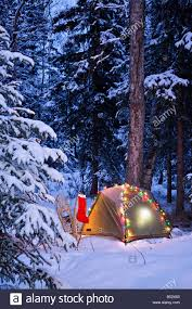 a tent is set up in the woods with christmas lights and stocking