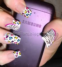 love4nailart step by step neon leopard zebra nail art