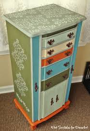 Antique Jewelry Armoires Vintage Jewelry Armoire Makeover With Paint And Stencils