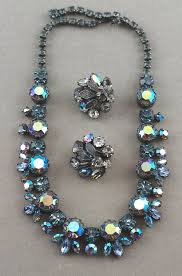 rhinestone necklace earrings images Unsigned regency 1950s rhinestone necklace earrings japanned metal jpg
